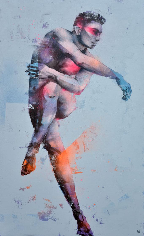 """<b>TAKING OFF</b><br>146 x 89 cm<br><a href=""""https://www.graffmatt.com/contact/mail-tableau"""" ; style=""""color:#49bfc0;"""" target=""""_blank"""">Disponible</b><alt=""""art dance danseur contemporain man homme elegance danse mouvement tableau portrait"""""""