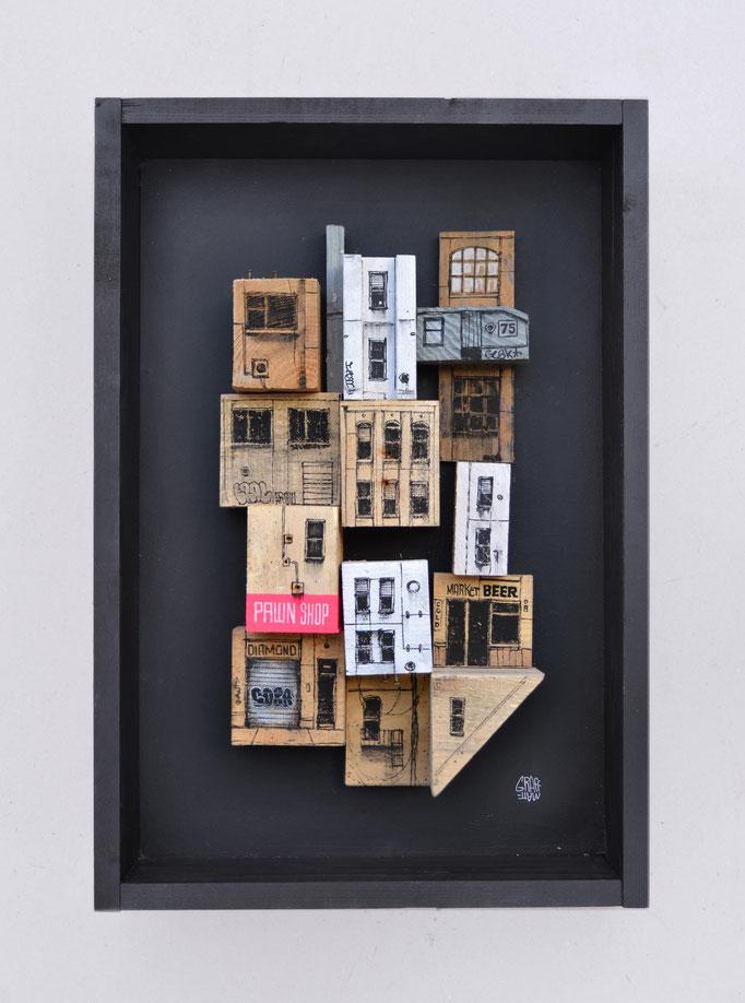 """<b>PELL-MELL</b><br>64 x 44 cm<br><a style=""""color:#db6464;"""">Vendu</br></a> <alt=""""art peinture palette bois ville streetart assemblage urbain contemporain graffmatt caisse bois déco relief 3d sculpture totem tour immeuble"""">"""
