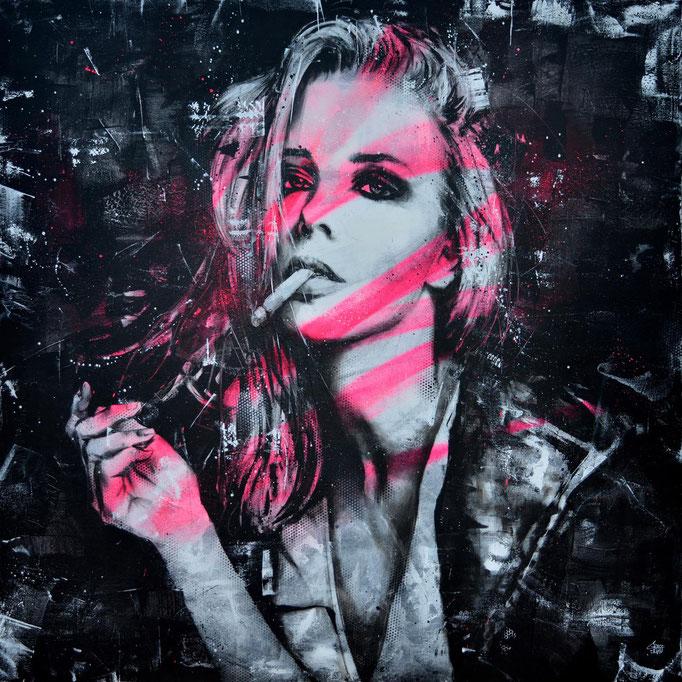 "<b>SMOKE BREAK</b><br>120 x 120 cm<br><a style=""color:#db6464;"">Vendu <alt=""art tableau streetart graffiti france paris lyon chambéry savoie rhone alpes spray paint woman portrait tableau urbain oeuvre urbaine aérosol contemporain fashion>"