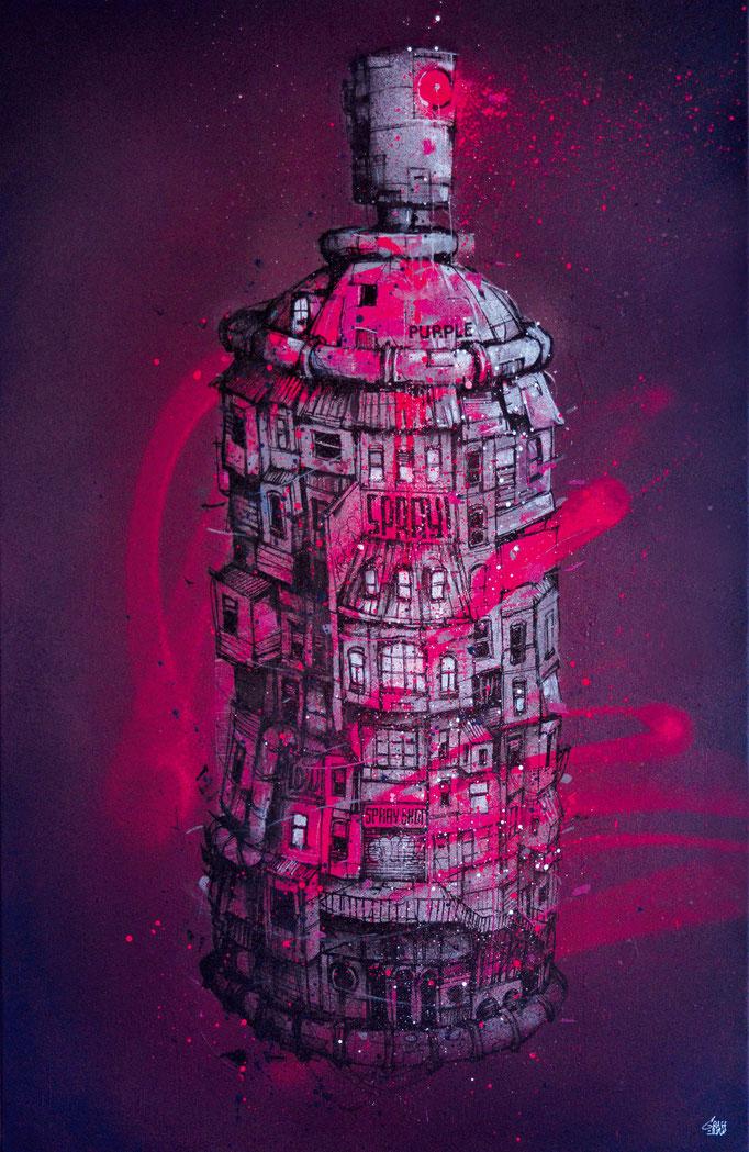 "<b>PURPLE SPRAY</b><br>100 x 65 cm<br><a style=""color:#db6464;"">Vendu</br> </a> <alt=""art tableau streetart graffiti spraypaint modern spraycan bombe de peinture graff tag ville aérosol rose fluo fluorescent>"