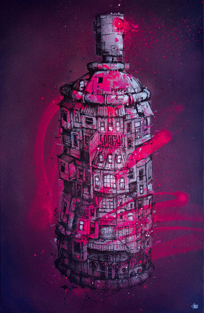 "<b>PURPLE SPRAY</b><br>100 x 65 cm<br><a href= https://www.graffmatt.com/boutique/peintures/purple-spray/#cc-m-product-9380457285; style=""color:#49bfc0;"" target=""_blank"">Disponible à la vente</b></a> <alt=""art tableau streetart graffiti spraypaint modern>"
