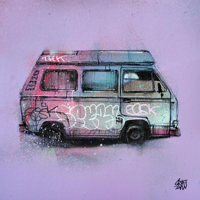 """<b>T3 COMBI</b><br>20 x 20 cm<br><a style=""""color:#db6464;"""">Actuellement en exposition <alt=""""art tableau streetart graffiti france paris lyon chambéry savoie rhone alpes spray paint tableau urbain dessin T3 combi volkswagen œuvre>"""