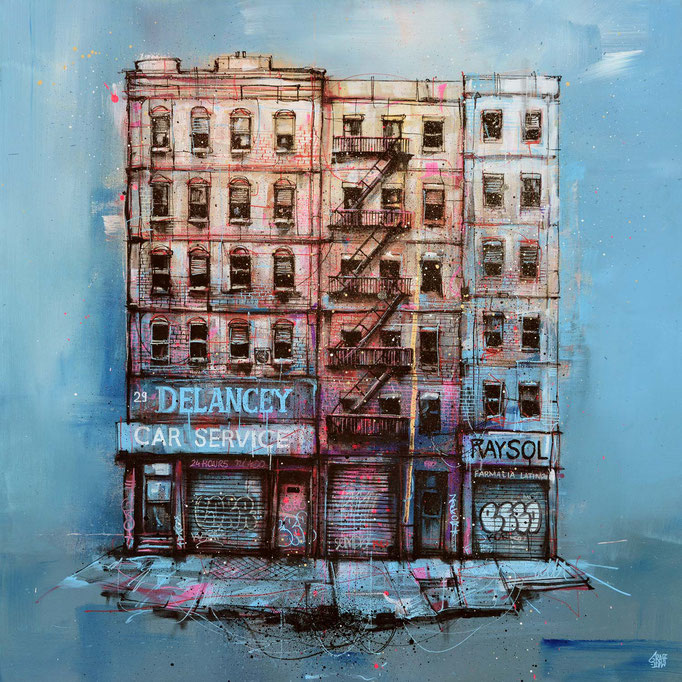 "<b>DELANCEY</b><br>80 x 80 cm<br><a style=""color:#db6464;"">Vendu</a><alt=""storefront illustration art urbain facade rue newyork city wall shopfront shop front scene urbaine street immeuble deco tableau œuvre originale ville usa streetart "">"