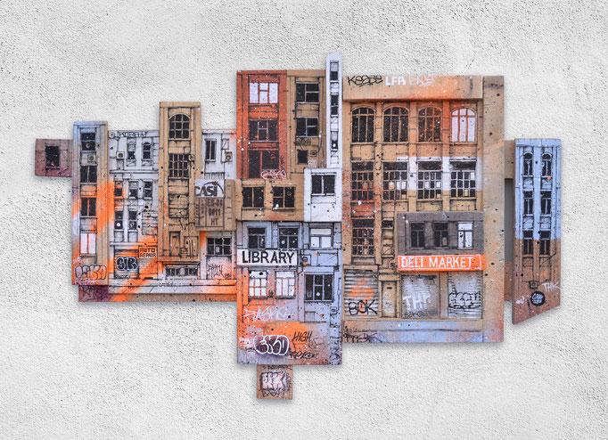 """2de AVENUE</b><br>69x 91 cm<br><a href=""""https://www.graffmatt.com/contact/mail-tableau"""" ; style=""""color:#49bfc0;"""" target=""""_blank"""">Disponible</b><alt=""""art peinture streetart graffiti artiste peintre lyon paris chambéry savoie scène urbaine recyclage bois"""">"""