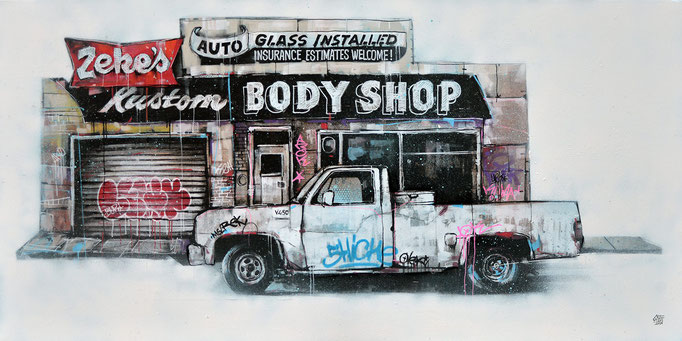 "<b>KUSTOM BODY SHOP</b><br>50 x 100 cm<br><a style=""color:#db6464"">Vendu</br></a> <alt=""art tableau contemporain paysage usa pick-up van voiture desert americain amérique etats-unis paysage urbain scène urbaine œuvre d'art"">"