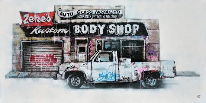 """<b>KUSTOM BODY SHOP</b><br>50 x 100 cm<br><a style=""""color:#db6464"""">Vendu</br></a> <alt=""""art tableau contemporain paysage usa pick-up van voiture desert americain amérique etats-unis paysage urbain scène urbaine œuvre d'art"""">"""