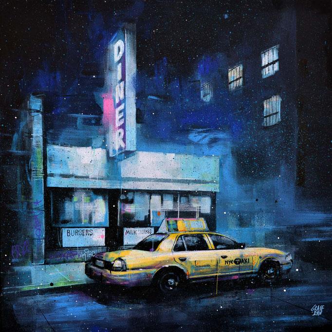 "<b>AN OVERNIGHT STOP</b><br>50 x 50 cm<br><a style=""color:#db6464;"">Vendu</a> <alt=""tableau art contemporain ville newyork peinture painting nuit night taxi bleu nocturne graffiti urbain streetart savoie chambery graffmatt"">"