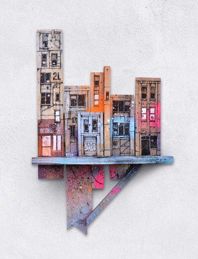"""<b>STREET TERRACE</b><br>56 x 37 cm<br><a href=""""/app/module/webproduct/goto/m/m5794e95a5dd613db"""" ; style=""""color:#49bfc0;"""" target=""""_blank"""">Disponible à la vente</b><alt=""""art peinture streetart urbain ville sculpture urbaine contemporain bois palette>"""