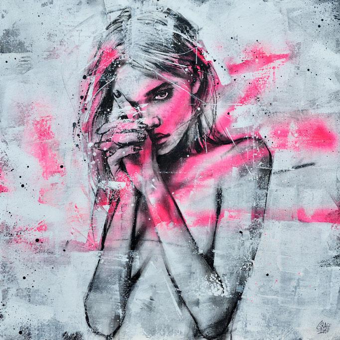 """<b>MYSTERY TO ME</b><br>50 x 50 cm<br><a href=""""/app/module/webproduct/goto/m/m0633e22fb573d3b3"""" ; style=""""color:#49bfc0;"""" target=""""_blank"""">Disponible à la vente</b><alt=""""art tableau streetart portrait femme peinture toile rose fluo fashion painting art wom>"""