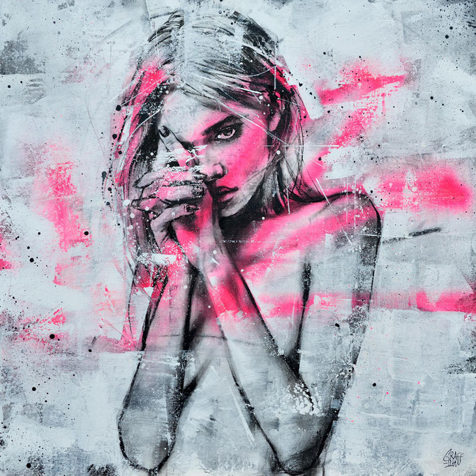 "<b>MYSTERY TO ME</b><br>50 x 50 cm<br><a style=""color:#db6464;"">Vendu<alt=""art tableau streetart portrait femme peinture toile rose fluo fashion painting art wom>"