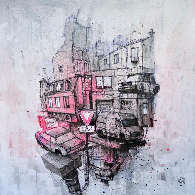 """<b>CÉDEZ LE PASSAGE</b><br>36 x 36 cm<br><a style=""""color:#db6464;"""">Vendu</a><alt=""""art tableau streetart graffiti france paris lyon chambéry savoie rhone alpes spray paint tableau urbain dessin ville architecture œuvre>"""