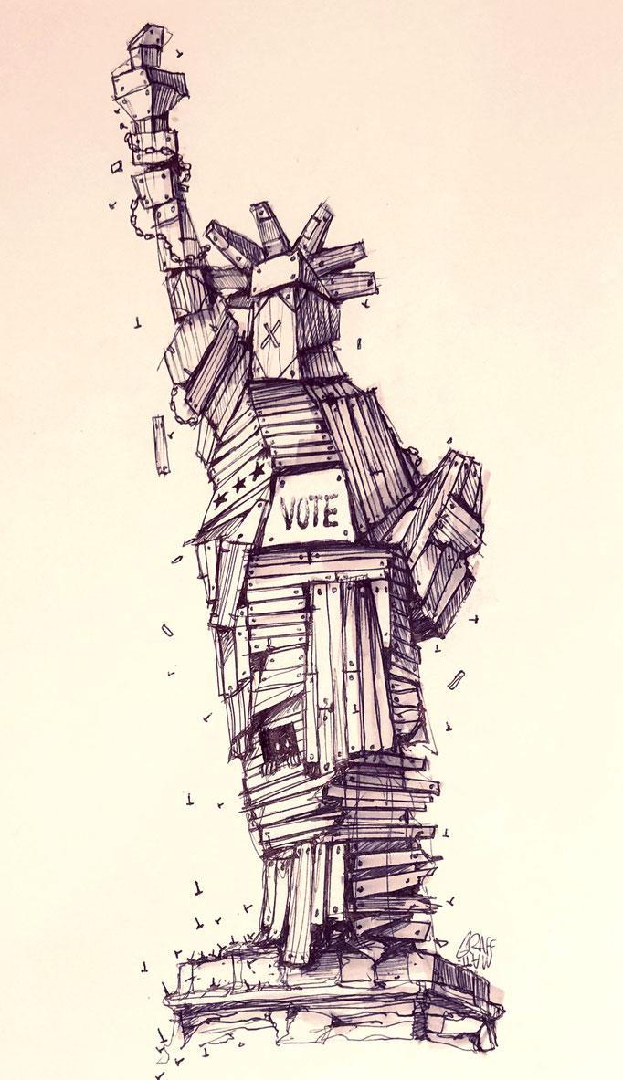 "<b>VOTE</b><br>30 x 21 cm<br><a style=""color:#db6464;"">Vendu</a><alt=""Vote america statue de la liberte bois barricade wood fear presidential elections usa donald trump joe biden confrontation peur dessin streetart"">"