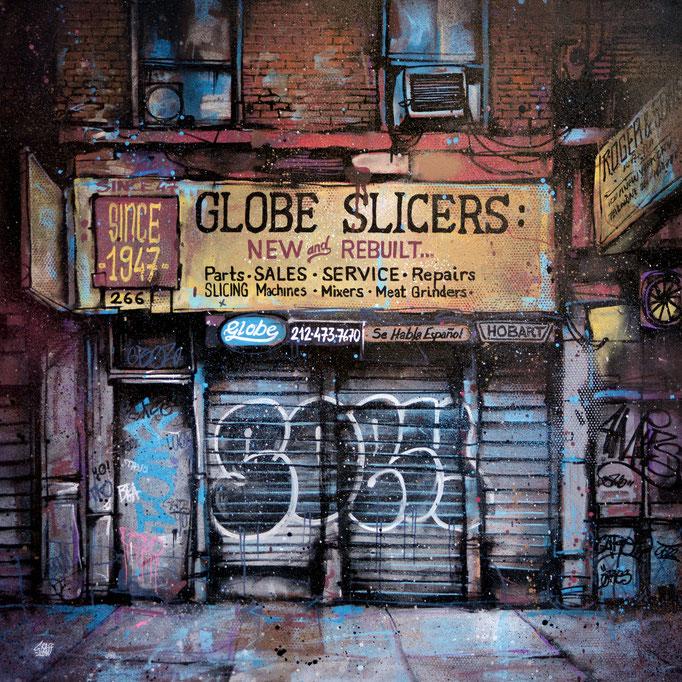 "<b>GLOBE SLICERS</b><br>80 x 80 cm<br><a style=""color:#db6464;"">Vendu</br></a> <alt=""art artiste peintre contemporain facade newyork street rue urbain graffiti tableau france streetart savoie chambery graffmatt"">"