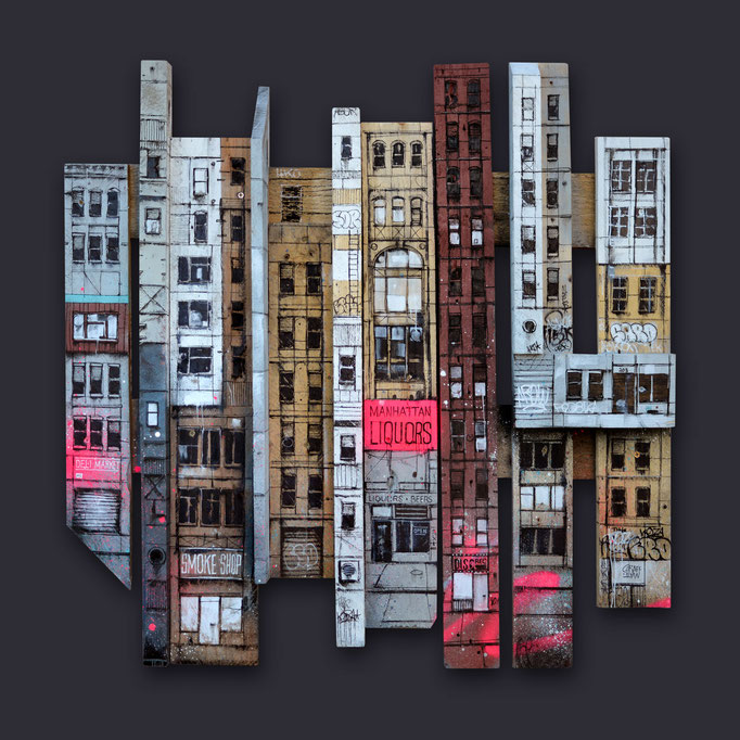 "<b>CAST-IRON BUILDING</b><br>80 x 80 cm<br><a style=""color:#db6464;"">Vendu <alt=""art tableau streetart graffiti france paris lyon chambéry savoie rhone alpes tableau urbain scène urbaine aérosol ville illustration œuvre peinture bois palette moderne>"
