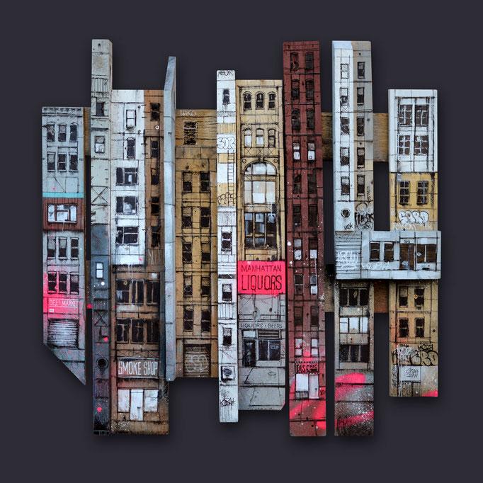 """<b>CAST-IRON BUILDING</b><br>80 x 80 cm<br><a style=""""color:#db6464;"""">Vendu <alt=""""art tableau streetart graffiti france paris lyon chambéry savoie rhone alpes tableau urbain scène urbaine aérosol ville illustration œuvre peinture bois palette moderne>"""