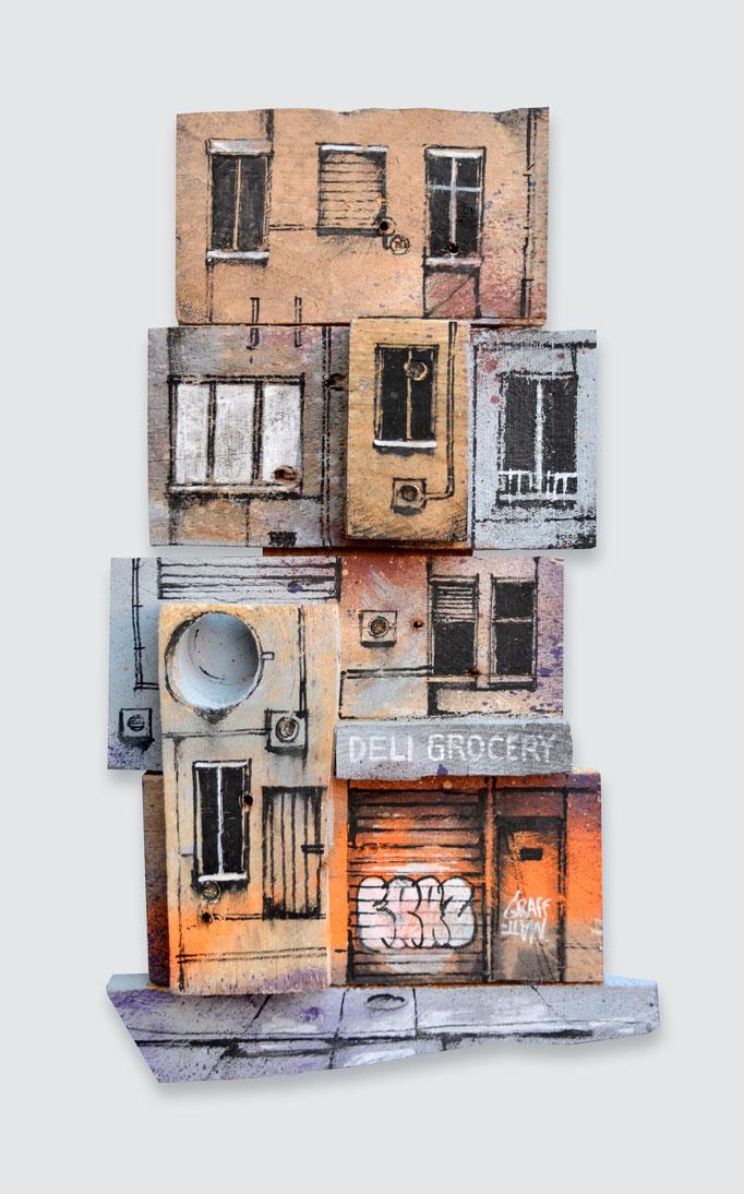"""<b>LITTLE URBAN FRAGMENT</b><br>31 x 18 cm<br><a style=""""color:#db6464;"""">Vendu</br></a<alt=""""art peinture sur bois palette bois tableau d'art contemporain urbain streetart graffiti architecture urbaine originale graffmatt chambéry savoie lyon paris france"""">"""