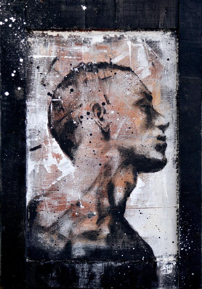 """<b>FORCED CHANGE</b><br>45 x 31 cm<br><a style=""""color:#db6464;"""">Vendu</br></a><alt=""""art tableau streetart urbain portrait homme peinture sur bois>"""