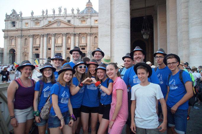 Gruppenfoto bei der Papstaudienz