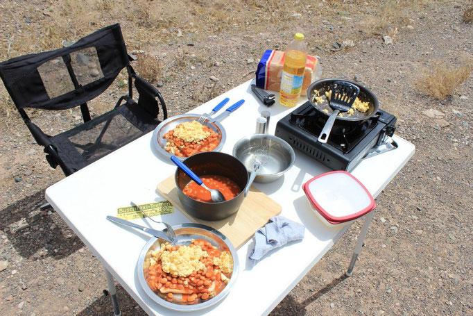 Mobiler Gaskocher um im Freien zu kochen.
