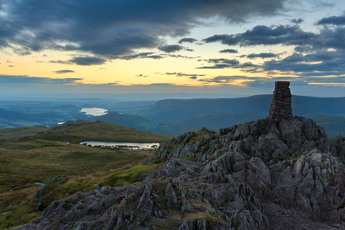 Waiting for the sun at Place Fell Cairn, Lake District, England