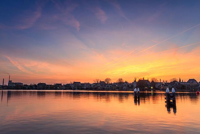 Zaandijk houses at sunset