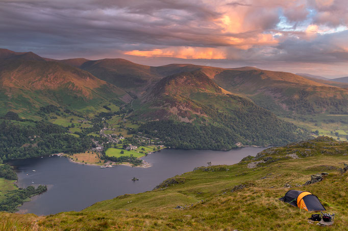 Sunrise on Place Fell looking over Ullswater, lake District, England