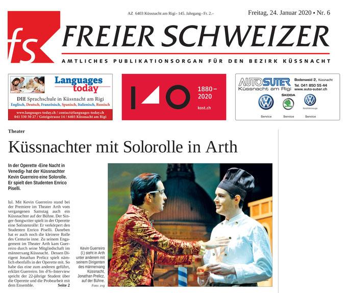 Freier Schweizer vom 24.01.2020 (Frontseite)