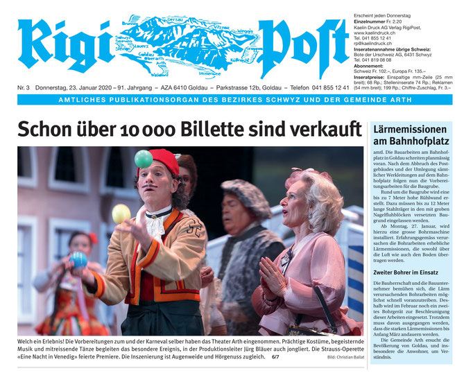 Rigi Post vom 23.01.2020 (Frontseite)
