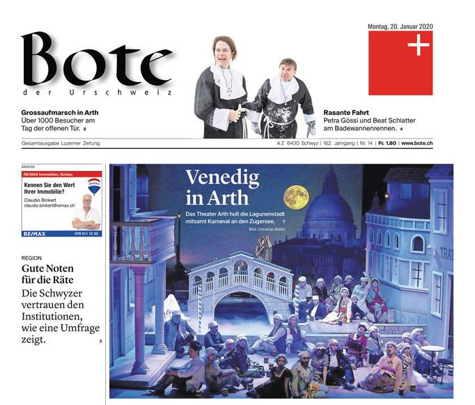 Bote der Urschweiz vom 20.01.2020 (Frontseite)