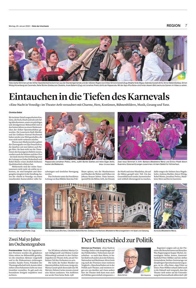 Bote der Urschweiz vom 20.01.2020 (Berichterstattung)