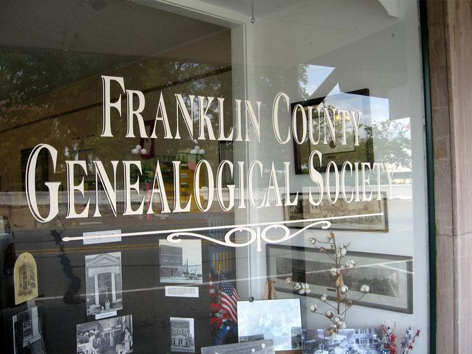 Franklin County Genealogical Society sign and window display