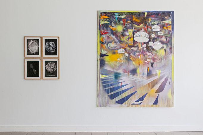 Wanda Stolle · o.T. Alle Tusche auf Aquarellpapier, 2015-2017 | Matthias Moravek · Landung Öl auf Leinwand, 2017