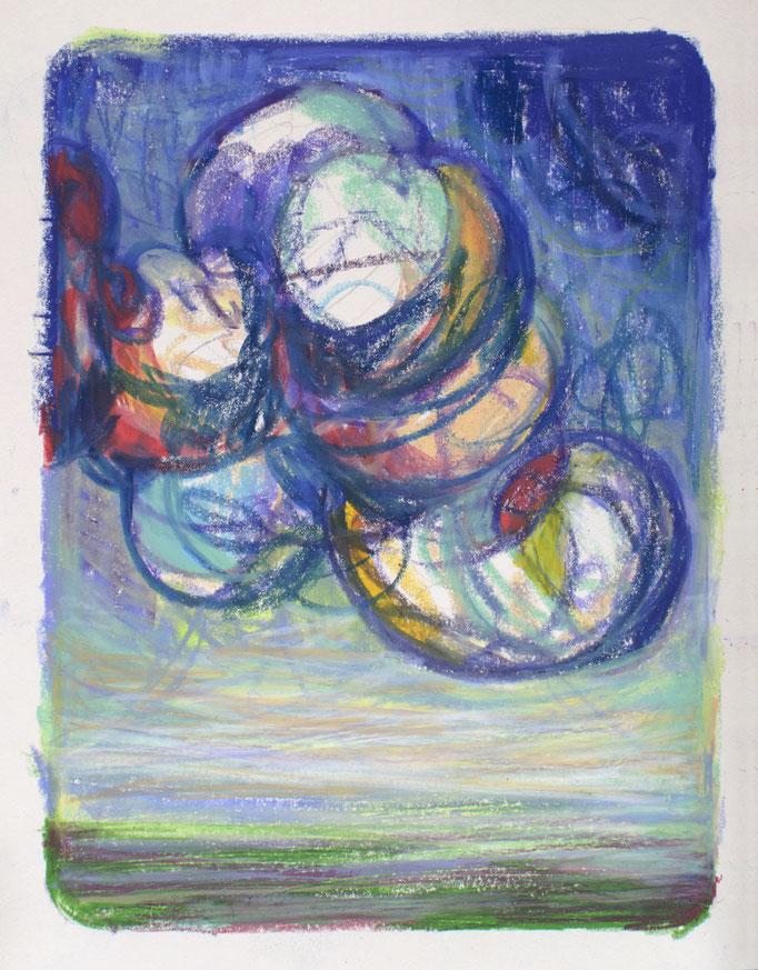 """""""Turbulence II"""",  Kreide auf Papier, 30 x 20 cm, 2020"""