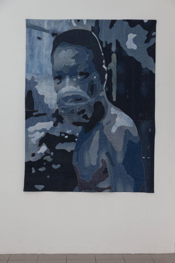 Katrin Hoffert · Arbeiter 189 cm x 144 cm, Jeansstoffe, 2017