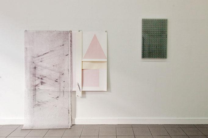 Carsten Sievers · o.T. Papier-Tableau ca. 176 x 160 x 25 cm, 2018 & o.T., mixed media, 73,5 x 49,0 x 5,3 cm, 2017