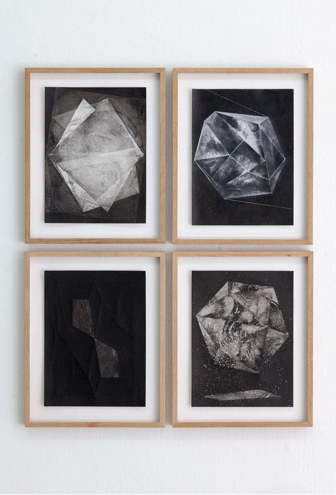 Wanda Stolle · o.T. Alle Tusche auf Aquarellpapier, je ca. 32 x 24 cm, 2015 - 2017