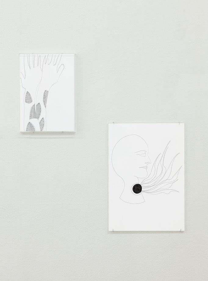 Claudia Sarnthein · Hands/Hände & Flames/Flammen, je pen on paper, 2012-15
