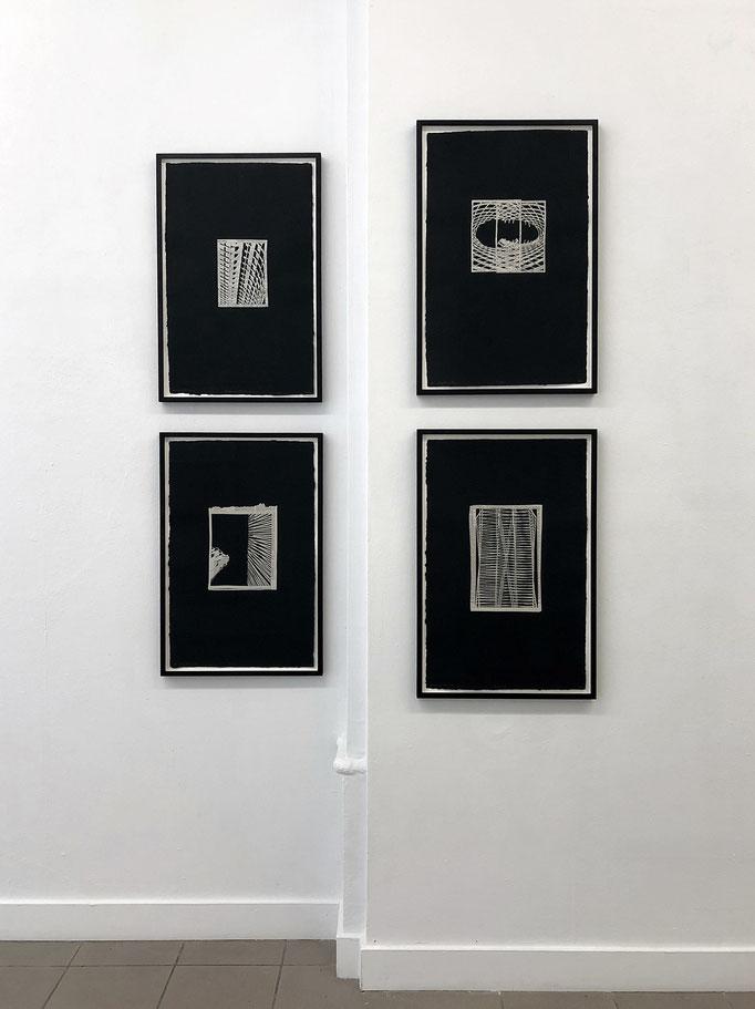 """Hansjörg Schneider · aus der Serie """"Depeschen"""" 2018, Papierschnitt u. Riss/Collage, gerahmt 69 x 44 cm"""