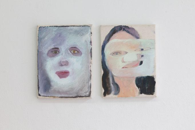 Sarah Thibault · face mask & face mask, je Öl auf Leinwand, 2016