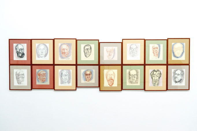 """Arnold Landen : aus der Serie """"Das letzte Portrait"""", Bleistift, Kohle, Rötel auf Papier, 2001"""