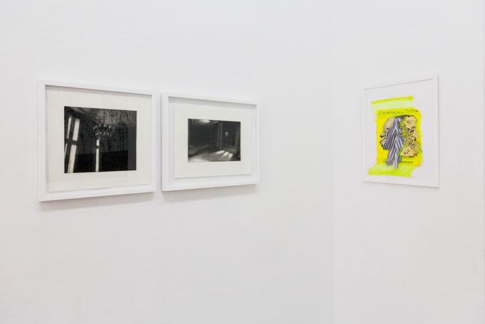 ORLANDO (Karla Neumeyer) · Freiheit II & Freiheit VI, Radierungen, 2016 | Silvia von Pock · o.T. ( Cautionary Tales) Assemblage, 2018