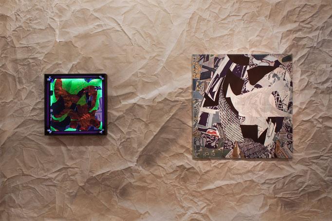"Alison Woods ""The Night"", 2016,  Acryl/Leinwand,  61 x 61 cm · ""Nano II"" 2012, Acryl/Leinwand,  122 x 117 cm"