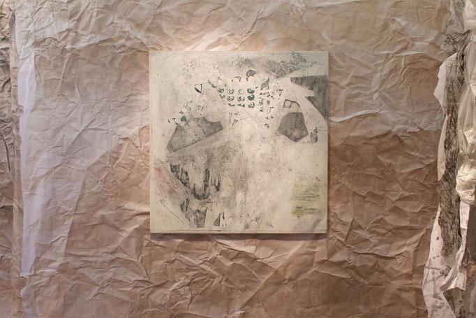 """Alison Woods """"Palimpsest"""" 2016, Acryl/Leinwand, 131 x 127 cm"""