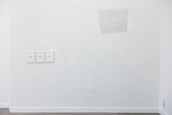 """Myriam en Haik · """"Ecriture"""", Tusche auf Papier, 2017 &  """"Ecriture"""" Bleistift auf Wand, 2018"""