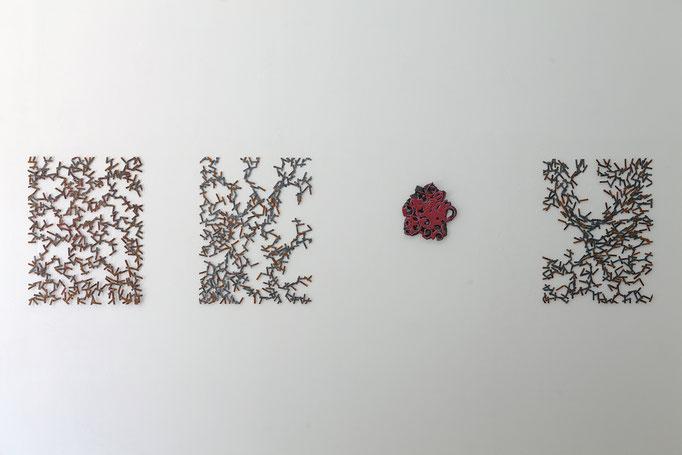 Ulrich Schreiber · en mouvement - 1 & 2 Stahl verschweißt, 2016, Gabriele Künne · Rosentext Raku-Keramik, glasiert, 2016, Ulrich Schreiber · en mouvement - 3 Stahl verschweißt, 2016