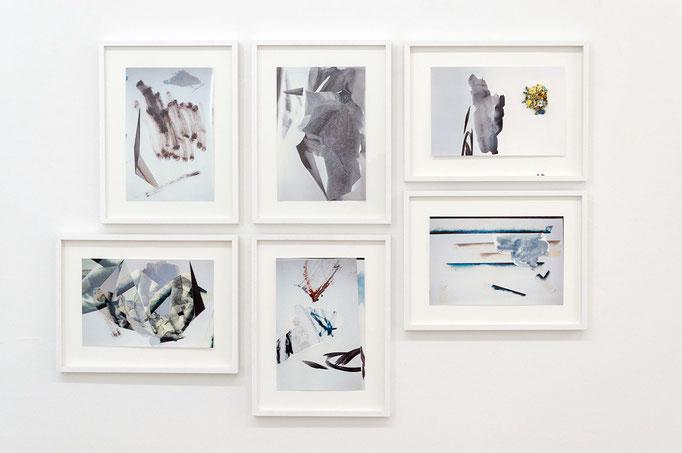 """""""studio fallout"""" 1–6, 2015, Photo, Papier, Öl auf Papier, je 30 x 40 cm gerahmt I (c) Maja Rohwetter VG BildKunst"""