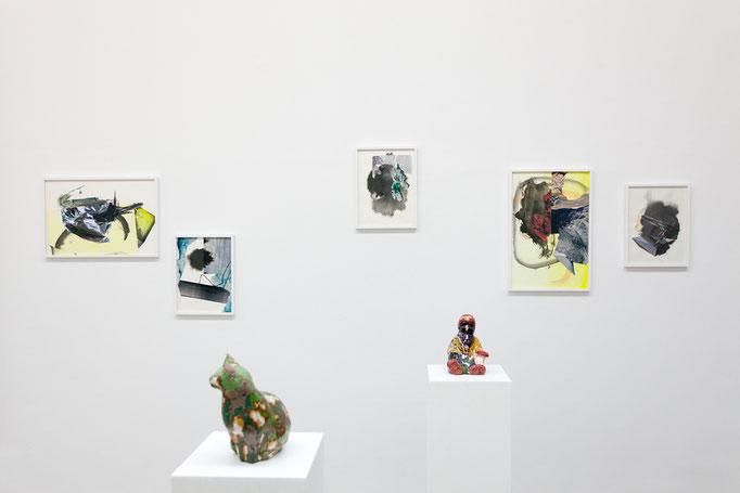 Maja Rohwetter · Gemischte Gefühle 1–5 und Erika Plamann · Süßmaus, Erika Plamann · Mustapha · Wachs, Pigmente, Ton, Gips, 2015