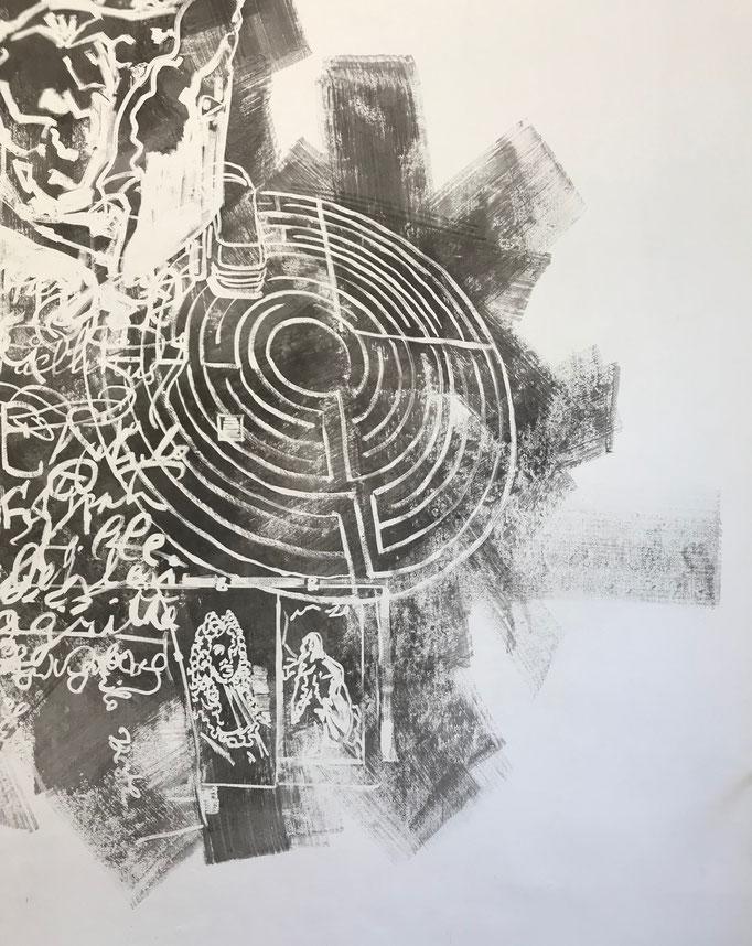 """Thilo Droste """"Retrospective Conversion"""" 2019, Detail Wandmalerei, ca. 880 x 330 cm"""