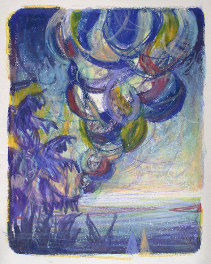 """""""Turbulence I"""",  Kreide auf Papier, 30 x 20 cm, 2020"""