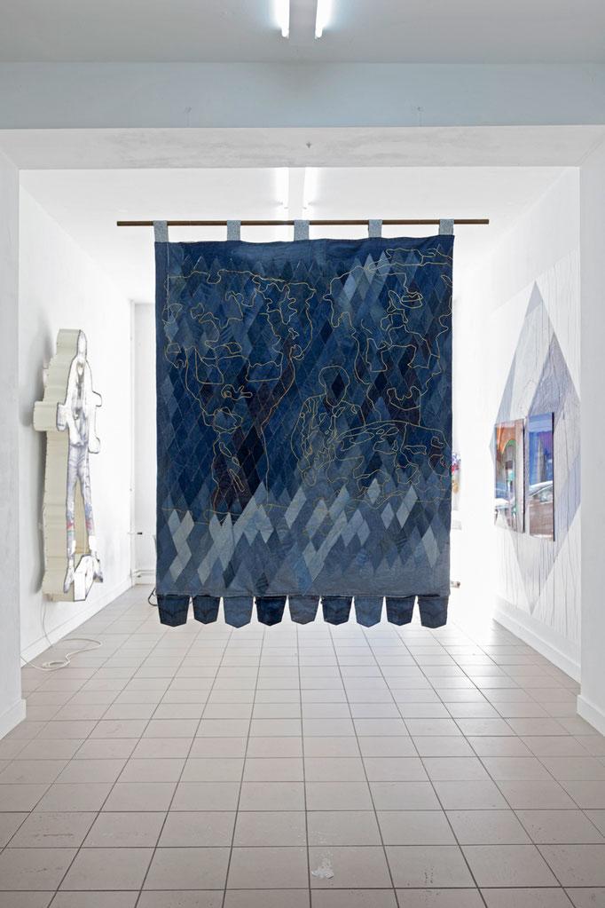 Katrin Hoffert · Human Kapital 220 cm x 160 cm, Jeansstoffe, Stoffe, 2017